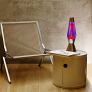 Lava lamp with vintage furniture