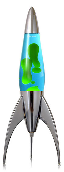 Mathmos Telstar rocket Lava lamp - blue with green Lava
