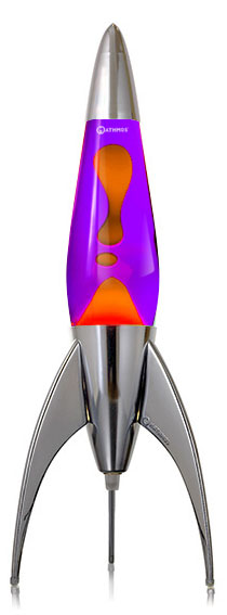 Mathmos Telstar rocket Lava lamp - Violet with Orange Lava